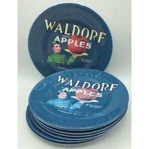 8 Waldorf Apples Blue Melamine Salad Plates Set